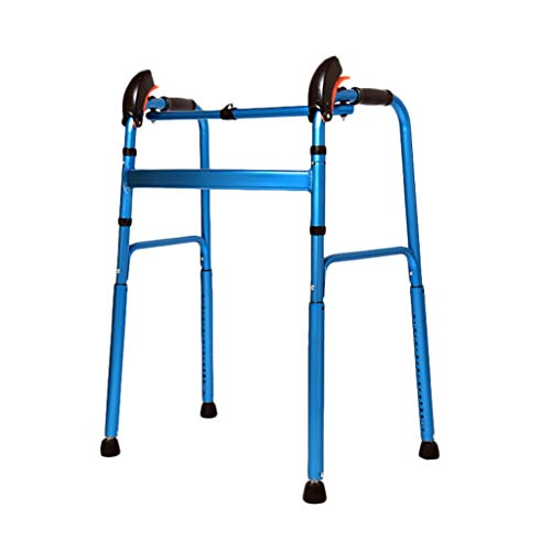 Rollatoren Walker Walker for Senioren Aluminiumlegierung Walker Auf Und Ab Treppen Walker Retractable Elderly Armrest (Color : Blue, Size : 58 * 45 * 76-96cm)