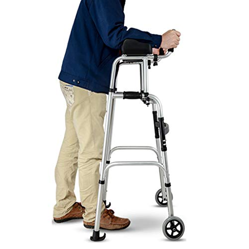 Rollatoren Walker Walker for Senioren Aluminiumlegierung Walker Ältere Gehhilfe Rehabilitation Trainingsgeräte (Color : Silver1, Size : 60 * 52 * 101-116cm)